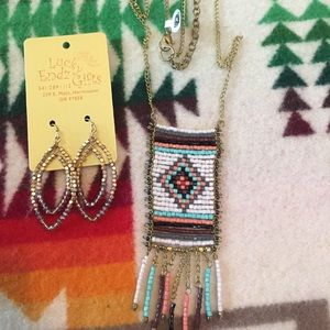 Pretty gold beaded necklace earring jewelry